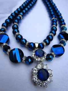 Cobalt Blue 2 Starnds Glass Pearls Necklace with by AmiraJewelryy, $57.00