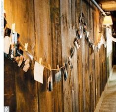 Line the walls with clotheslines pinned with pictures of you and your groom, family and friends.