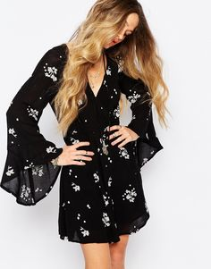 Image 1 ofFree People Jasmine Embroidered Dress in Storm