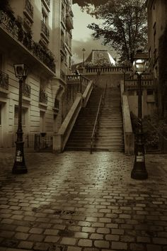Monmartre, Paris - I can see my son climbing those steps while we waited for the funicular