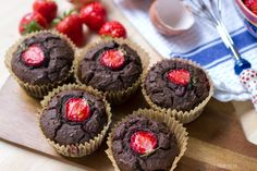 Chocolate & Strawberry Muffins (Nut Free, Paleo) | Eat Drink Paleo