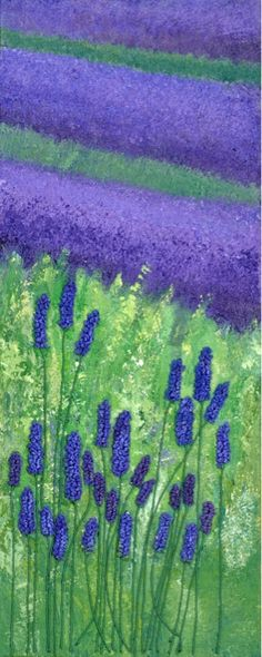 This would look terrific done on glass with a variety of frit 'Lavender Field' 400mm x 1,000mm Mixed media: acrylic and embroidery Jane Powell Art