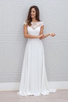 vestido de noiva 2019 Chiffon Beach Wedding Dresses With Lace Short Sleeves Illusion Boho Bridal Gowns robe mariage - - Hochzeitskleid 2019 Wedding Dresses Uk, Open Back Wedding Dress, Wedding Dress Train, Wedding Dress Chiffon, Wedding Dress Trends, Cheap Wedding Dress, Bridal Dresses, Lace Dress, Bridesmaid Dresses