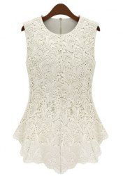 Elegant Jewel Neck Sleeveless Lace Blouse For Women