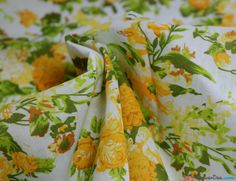 Yellow Floral Spray Poly Cotton Fabric - WeaverDee.com