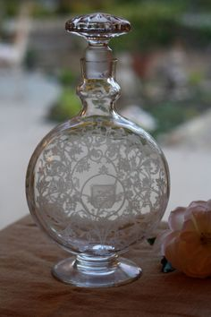 Vintage Etched Baccarat Decanter / French// 1930s - 1960s