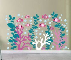 Coral Reef Nursery Fish Wall Decal Under Water Sea Weed Stickers Under the Sea Decals School of Fish Decals Clown Fish Sea Creature Art Nemo Animal Wall Decals, Nursery Wall Decals, Sea Nursery, Calin Gif, Decoration Creche, Weed Stickers, Fishing Nursery, Paper Installation, Coral Walls