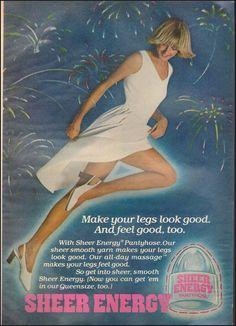 1977 Vintage ad for Sheer Energy`Hosiery`Sexy Leg White Dress  (010717))