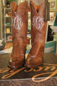 I want my cowboy boots monogrammed! The Purple Polka Dot in Cary, NC Janome, Cute Shoes, Me Too Shoes, Monogram Boots, Monogram Clothing, Ruffles, Over Boots, Wedding Boots, Site Nike