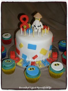 Lego Cake, Fondant Decorations, Fondant Cupcakes, Mini Cakes, Cupcake Toppers, Ninja, Icing, Cake Decorating, Birthday Cake