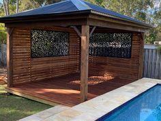 Pool Gazebo, Screened Gazebo, Diy Gazebo, Backyard Pavilion, Gazebo Ideas, Pool Ideas, Outdoor Ideas, Backyard Office, Backyard Patio
