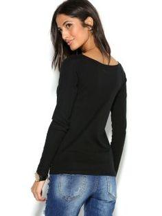 Camiseta manga larga mujer con estampado gráfico y strass