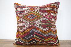 28 x 28 Vintage Turkish Kilim Pillow Cover by SebilPillows on Etsy