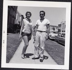 Vintage Antique Photograph Sexy Man & Woman in Shorts Barefoot on Sidewalk 1957