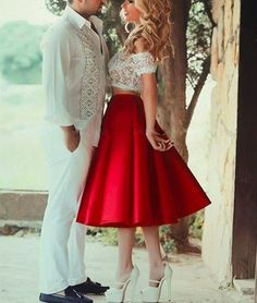 Cute Red 2 Pieces Short Lace Prom Dresses, Evening Dress, red homecoming dress
