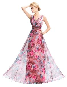 Grace Karin Dresses 2016 New Floral Print Evening Dresses Long 2016 V Neck Chiffon Party Gowns Vestido De Festa Formal Dress 058 Long Bridesmaid Dresses, Prom Party Dresses, Party Gowns, Prom Dress, Dress Party, Wedding Dress, Evening Dress Long, Evening Dresses, Evening Party