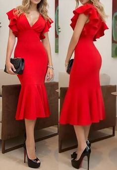 MACloth Short Sleeves with Ruffled Sheath Midi Cocktail Dress Red Tea Length Formal Party Dress Cocktail Dress Classy Elegant, Red Cocktail Dress, Classy Dress, Elegant Dresses For Women, Formal Dresses, Elegant Dresses Classy, Short Dresses, New Party Dress, Party Wear