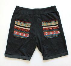 Aztec bohemian Black Sweat Short Pant Men Hipster by Trendbeach