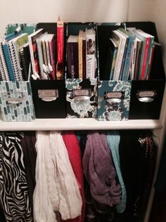 Have all college supplies organized by class and ready to leave the dorm when you are-great idea.