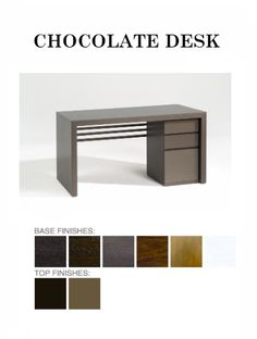 The Chocolate #Desk from ADRIANA HOYOS is available in Grafito, Dark Seike, Medium Seike, Mink, Champagne and white base finish with Grafito High Gloss and Mink High Gloss top finish #modern #contemporary #homefurniture