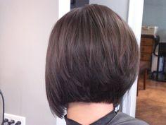 Back view of stacked bob haircut