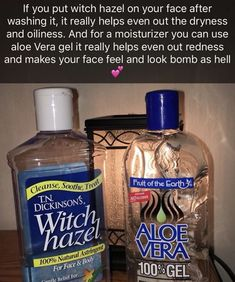 Witch hazel toner and aloe vera moisturizer. Witch hazel toner and aloe vera moisturizer. Oily Skin Care, Face Skin Care, Skin Care Regimen, Sensitive Skin Care, Dry Skin, Skin Tips, Skin Care Tips, Witch Hazel Toner, Witch Hazel Uses