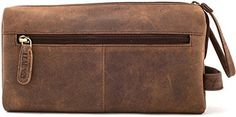 LEABAGS PALM BAY Vintage Genuine Leather Unisex Toiletry Bag Dopp Kit A double zipped main compartment with several inside slip pockets, zipped inside pocket, two zipped side pockets, carry handle and showerproof inner lining. High quality buffalo leather with the perfect size for a compact toiletry bag. Approximately 8×4.3×4 inch.