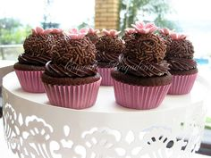 Mini Cupcake Brigadeiro. I've never heard of a Brigadeiro. Looks rich in chocolate but amazing!