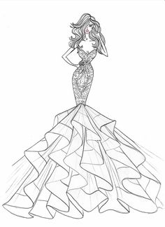 How to Draw a Fashionable Dress - Drawing On Demand Dress Design Drawing, Dress Design Sketches, Fashion Design Sketchbook, Fashion Design Drawings, Dress Drawing, Fashion Sketches, Fashion Drawing Dresses, Fashion Illustration Dresses, Wedding Dress Sketches