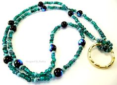 Beaded Lanyard - Teal Blue and Turquoise Beaded Eyeglass Holder by Designed By Audrey, $18.00