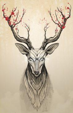 Deer tree Art Print by Rafapasta