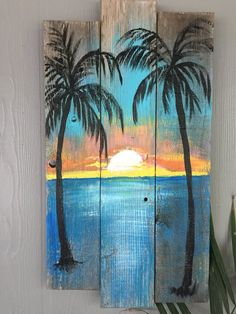 Beach Palm trees Sunset CUSTOM sign Large Palm trees, ocean, sunset, Rustic wood sign, beach w – Wooden decorations Wood Pallet Art, Pallet Painting, Painting On Wood, Diy Wood, Rustic Painting, Wood Paintings, Sign Painting, Palm Tree Sunset, Ocean Sunset
