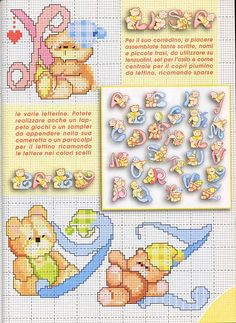lo spazio di lilla: Alfabeto a punto croce con gli orsetti, schemi / Cross stitch alphabet with teddy bears, free patterns