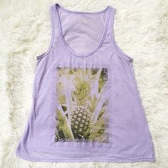 Pineapple tank 🍍 Lavender pineapple print tank top. Great everyday lounge tank. Well loved in great condition! Fast shipping! 📦 American Eagle Outfitters Tops Tank Tops