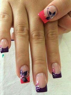 23 ideas for nails pink french toe Fabulous Nails, Gorgeous Nails, Pretty Nails, Pink Nail Art, Flower Nail Art, Blue Nail, Nagellack Design, Fancy Nails, Beautiful Nail Art