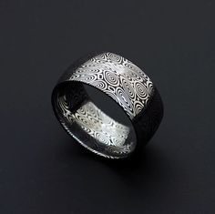 Genuine stainless Damascus Steel Mens Ring - Width 10 mm PD23 on Etsy, $328.00