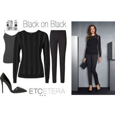 """""""Etcetera: Black on black sheer striped sweater."""" by etcetera-nyc on Polyvore"""
