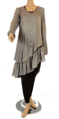 Grey Asymmetric Shiny Crepe Shirt - Winter 2012/13 - womens plus size fashion.