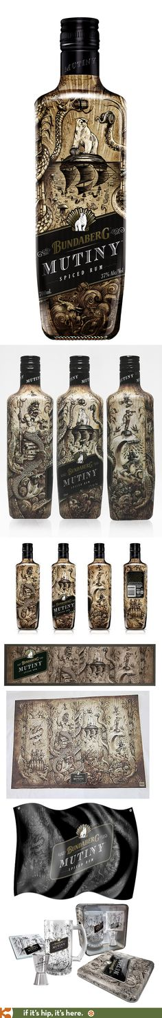 Australia's Bundaberg Mutiny Spiced Rum has a wonderfully illustrated #bottle and collateral pieces PD #design #bottledesign