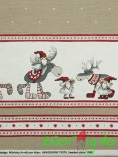 Weihnachtsstoffe - Baumwolle JULLE BÅRD mit Wichtel-Bordüre-Arvidsson - ein Designerstück von zwergigDE bei DaWanda
