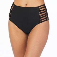 Ambrielle Solid High Waist Swimsuit Bottom ($42) ❤ liked on Polyvore featuring swimwear, bikinis, bikini bottoms, bathing suits two piece, high waisted bathing suits, high rise bikini, swim suits and high waisted swim suit