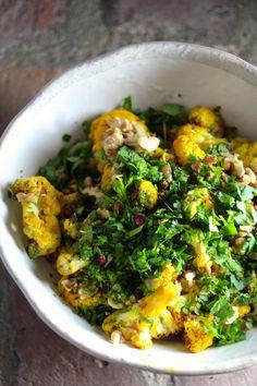Spiced Roasted Cauliflower with Walnut, Cilantro, Mint