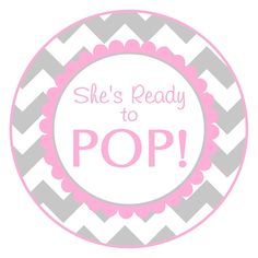 Baby Shower Ready to Pop labels, gray and pink chevron baby shower stickers