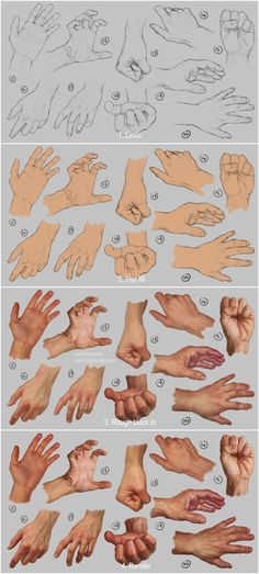 Hand study, step by step. By Irysching.