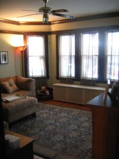 Portage Park 1920s Chicago Brick Bungalow Living Room