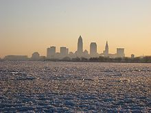 Cleveland skyline in the winter.