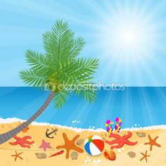 Coconut trees on the beach and sun shining — Stock Illustration #69805653