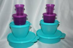 Tupperware Midgets Snack Cups Big Wonders Bowls by Tupperware. $19.95. multi-purpose bowls are the great size for soups/cereals/salads/leftovers. Rare, Limited Edition Aqua Blue and Purple Colors. 8 Piece Set Includes 2 each Big Wonders, Refrigerator Bowls, Snack Cups and Midgets. Ideal as a starter Set. Dishwasher Safe, Lifetime Warranty. The Ultimate Starter Set!  8 piece Set includes:  Big Wonders Bowls All-purpose versatility.  Set of two; 2 cup capacity  Aqua Blue ...