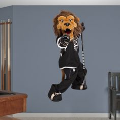 Los Angeles Kings Mascot - Bailey REAL.BIG. Fathead – Peel & Stick Wall Graphic | Los Angeles Kings Wall Decal | Sports Home Decor | Hockey Bedroom/Man Cave/Nursery