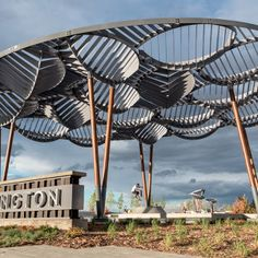 The Carrington art feature connects multiple facets of one of Calgary's newest communities. Inspired by nature, the tree-like structures are… Read Tensile Structures, Outdoor Structures, Sequoia, Sleeping Pods, Trellis Design, Aspen Trees, Street Furniture, Global Art, Kiosk